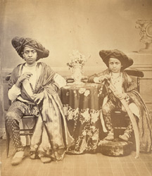 Studio portrait of two Maratha youths from Akalkot, at Bombay.
